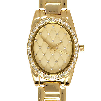 Gold tone quilted diamante face watch