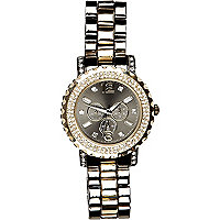 Silver tone diamante encrusted bracelet watch