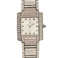 Grey diamante embellished rectangular watch