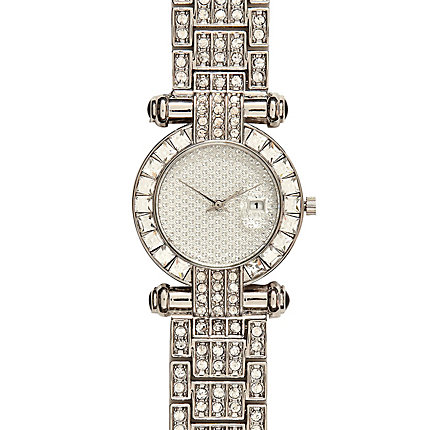 Silver tone diamante t-bar watch