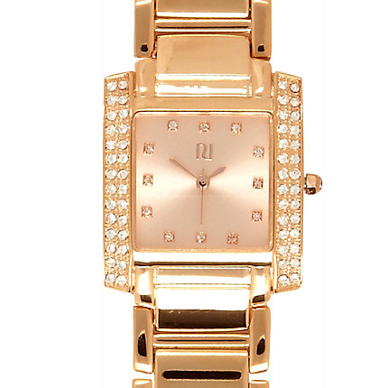 Rose gold tone rectangular bracelet watch