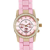 Pink and gold tone diamante encrusted watch