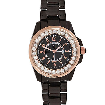 Black diamante embellished bracelet watch