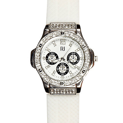 White diamante encrusted watch