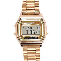 Rose gold tone digital bracelet watch
