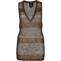 Khaki chain mail embellished stripe tunic