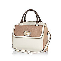 Cream snake panel flap over tote bag