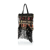 Black aztec woven fringed tote bag