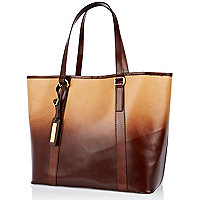 Beige leather dip dye tote bag
