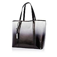Black leather dip dye tote bag