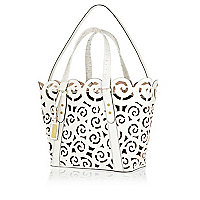 White leather laser cut tote bag
