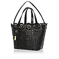 Black leather laser cut tote bag