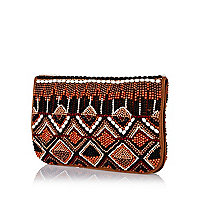 Beige leather aztec embellished clutch bag