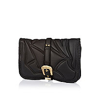 Black leather embossed western clutch bag
