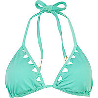 Mint green triangle cut out bikini top