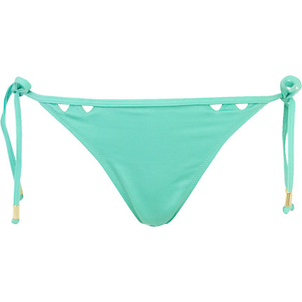 Mint green triangle cut out bikini bottoms