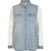Light wash contrast sleeve denim shirt