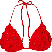 Red 3D poppy embellished bikini top