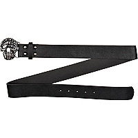 Black diamante skull jeans belt