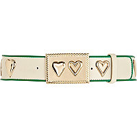 Cream heart contrast trim wide jeans belt