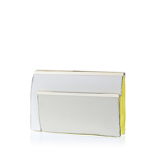White double metal bar clutch bag