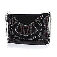 Black suede applique cross body bag