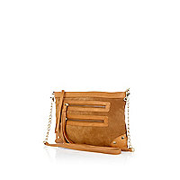 Beige suede double pocket cross body bag