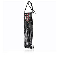 Black leather pattern fringed cross body bag
