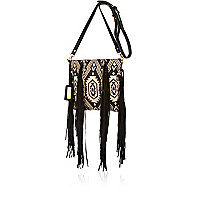 Black aztec woven fringed cross body bag