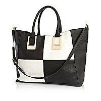 Black and white checkerboard tote bag