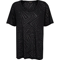 Black burnout geometric split side t-shirt