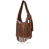 Brown suede coin fringed slouch bag