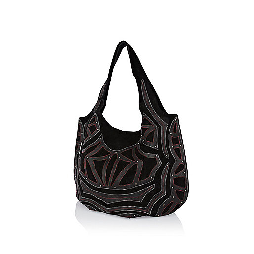 Black suede applique slouch bag