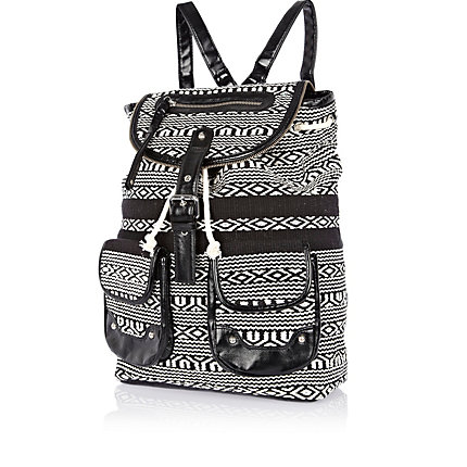 Black and white aztec woven rucksack