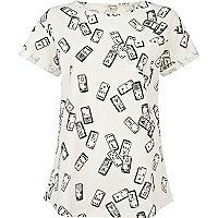 Black and white domino print t-shirt