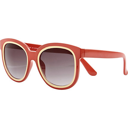 Red oversized colour block sunglasses