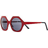 Red hexagon sunglasses