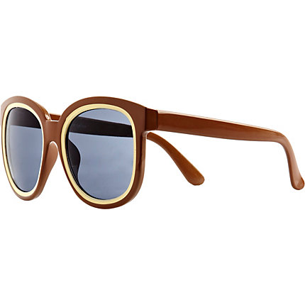 Beige oversized colour block sunglasses