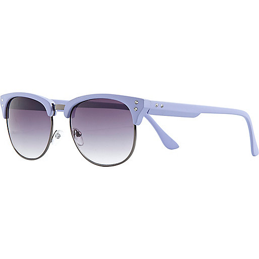 Light purple half frame retro sunglasses