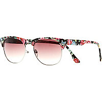 Pink floral retro sunglasses