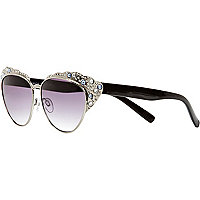 Silver tone embellished cat eye sunglasses