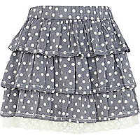 Light blue polka dot tiered skirt