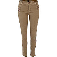 Beige skinny combat trousers
