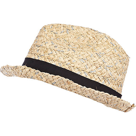 Cream straw sequin embellished trilby hat