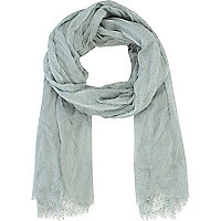Light grey long lightweight scarf