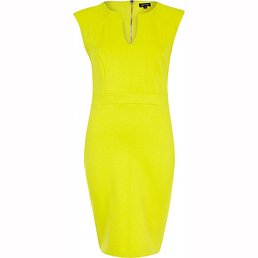 Lime cap sleeve bodycon dress