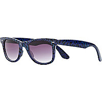 Blue leopard print retro sunglasses