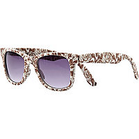 Brown floral print retro sunglasses