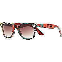 Black aztec print retro sunglasses
