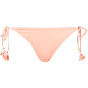 Peach flower tie side bikini bottoms